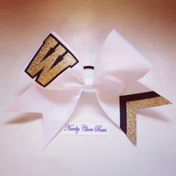 Monogram letter with Glitter White Cheer Bow (pick letter and color in comment section)