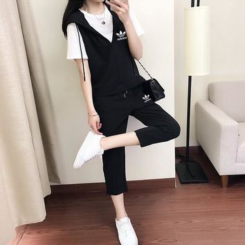 """Adidas"" Women Casual Fashion Short Sleeve T-shirt Sleeveless V-Neck Hooded Vest Trousers Set Three-Piece Sportswear"
