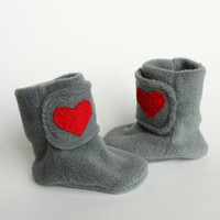 Valentine Baby Booties Boots I Love You by handmadetherapykids