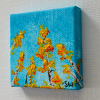 Tiny art, Miniature, Yellow Aspen Tree's  Miniature Original Oil Painting, Dollhouse Art, American Girl Doll, 2""