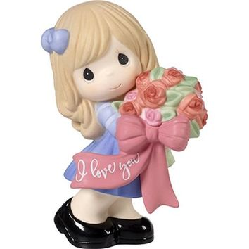 """I Love You"" Bisque Porcelain Figurine, Girl"