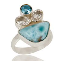 Larimar, Blue Topaz and Crystal Solid Sterling Silver Artisan Ring