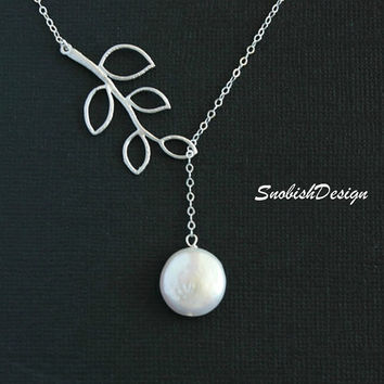 Leaf Necklace  Fresh Water Coin Pearl  Tree by SnobishDesign