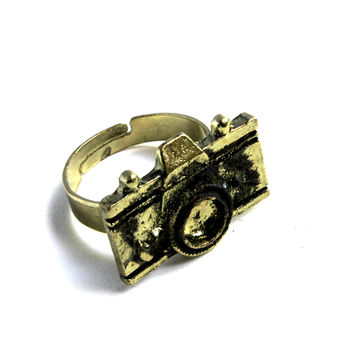 """Picture This"" Dark Gold Camera Ring"