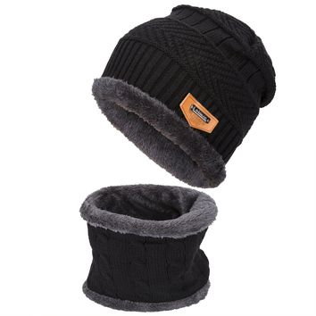 Gladys Moses Winter Beanie Warm Knit Hat Snow Ski Skull Cap Hat Scarf Set For Men and Women (Black)