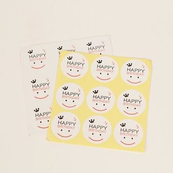 90pcs/lot 30*30mm Happy Birthday Sticker Smile Face DIY Sticker Hand Made For Gift Box Cake Baking Sealing Sticker