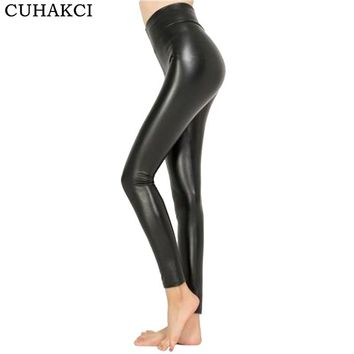 CUHAKCI 2018 Free dropshipping Women Hot Sexy Black Wet Look Faux Leather Leggings Slim Shiny