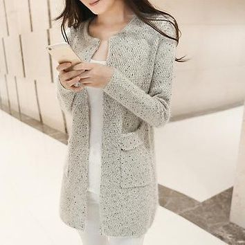 Autumn Winter New Women sweater coat Casual Long Sleeve Knitted Cardigans Sweaters Fashion loose Cardigan sweater