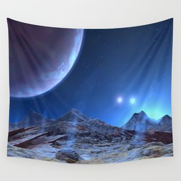 Extraterrestrial Landscape : Galaxy Planet Blue Wall Tapestry by 2sweet4words Designs