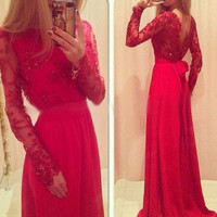 Red Long Sleeve Floor Length Prom Dresses