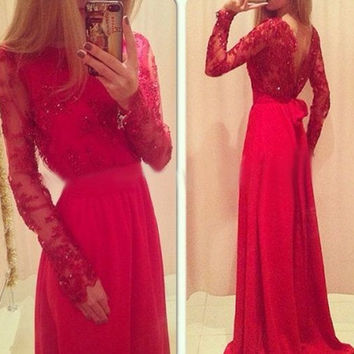 Long Sleeve Beading Red Prom Dresses