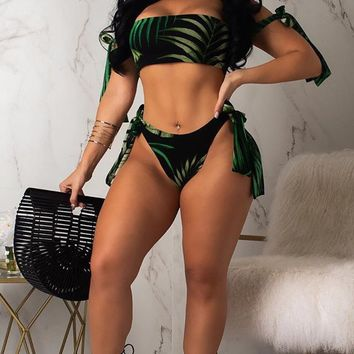 Queen Of The Tropics Black Green Leaf Pattern Off The Shoulder Bandeau Tie Bikini Swimsuit Double Slit Maxi Skirt Three Piece Set