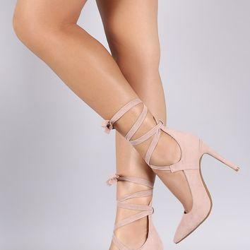Anne Michelle Pointy Toe Lace Up Pump