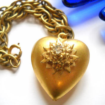 Charm Bracelet Puffy Heart Vintage Charm Bracelet Puffy Heart w Rhinestone Gold Tone Metal Chain Mid Century Statement Sweetheart