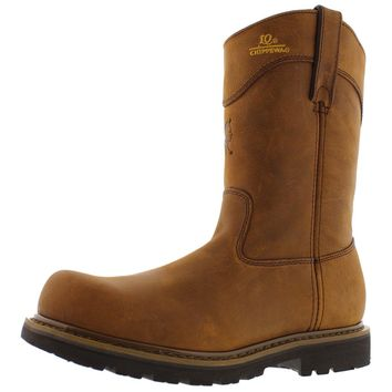 "Chippewa Mens 10"" IQ Oblique Leather Steel Toe Wellington Boots"