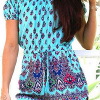 Light Blue Printed Slash Collar Romper