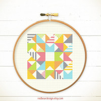 Modern Geometric Cross stitch pattern PDF - Play with Triangles n Strips -Stitch Instant download - Abstract triangle Minimalist home deco