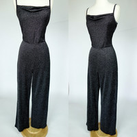 1990s silver lurex jumpsuit, black metallic body con stretch jumpsuit, Medium, Large