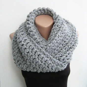 Gray chunky scarf crochet infinity by sascarves on Etsy