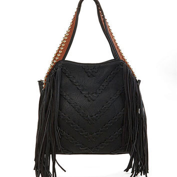 Big Buddha Graya Whipstich Embellished Fringe Hobo Bag | Dillards