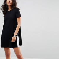 ASOS Shift Dress with Contrast Sides and Belt Detail at asos.com