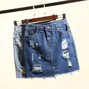 Summer Fashion Women's High Waist Skirts Hole Ripped Skirts Washed Denim Skirt Jeans Mini Short Skirts For Women Saia Jeans