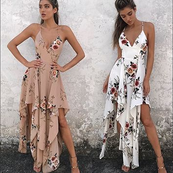 Spaghetti Strap Sexy Print Irregular One Piece Dress [10478683405]