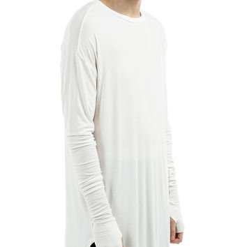 Essential Long Sleeve Under Scoop T-shirt - White