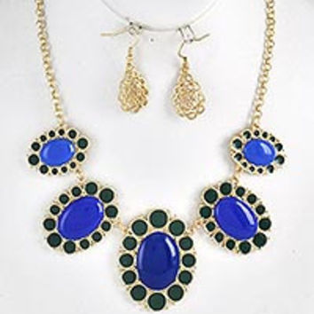 Royal Blue/ Green Statement Necklace