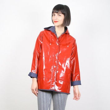 Vintage Raincoat Rain Coat Slicker Red Vinyl Navy Blue Hooded Raincoat 1980s 80s Color Block Mod Rain Jacket Trench Coat XS S Extra Small