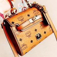 MCM New fashion letter print leather shoulder bag crossbody bag bucket bag Brown