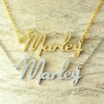 Custom Alloy necklace name necklace new font style Choose any name personalized jewelry with heart