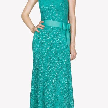 Cap Sleeves Lace Long Formal Sheath Dress with Ribbon Sash Belt Mint