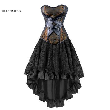 Charmian Women's Sexy Gothic Victorian Steampunk Corset Dress Leather Overbust Corsets and Bustiers Skirt Party Waist Trainer