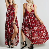 Beach Backless Sexy Print Beach Dress Chiffon Maxi Dress = 5861728065