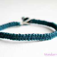 Clearance Sale - Unisex Aquamarine Hemp Bracelet, Neutral Jewelry, No Beads, Eco Friendly Gift, Stocking Stuffer