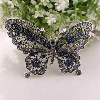 New fashion alloy hairpins hair accessories for female women retro rhinestone butterfly hairclips bridal headdress gift 75z