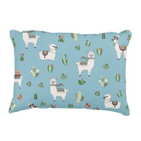 Lama and cactus pattern accent pillow