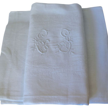 Antique  French Linen Napkins, S/6