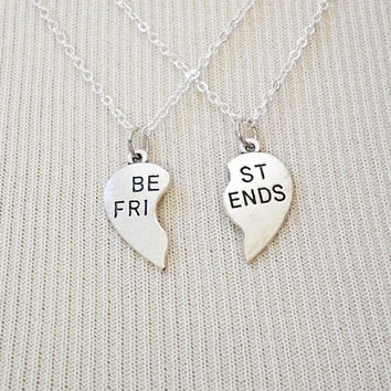Matching Necklaces - Best Friends Necklace - Charm Necklace - Friendship Jewelry - Best Friend Heart - Silver Necklace - Best Friends Hearts