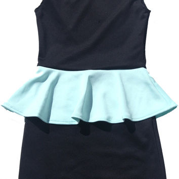Black and Mint Green Tween Girls Peplum Dress | Cheryl Kids Creations