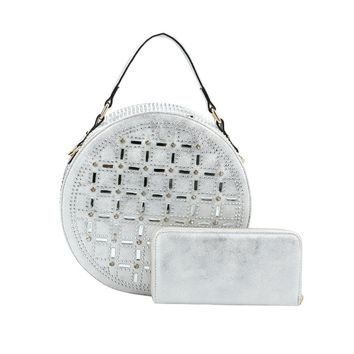 Rhinestone Studded Silver Vegan Leather Round Handbag with Matching Zippered Wallet