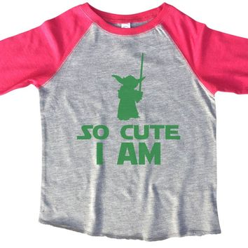 So Cute I Am BOYS OR GIRLS BASEBALL 3/4 SLEEVE RAGLAN - VERY SOFT TRENDY SHIRT B804