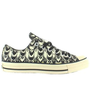 Converse All Star Chuck Taylor Print Ox   Black/parchment Skull Low Top Sneaker
