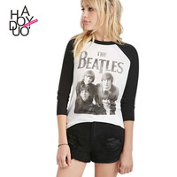 Haoduoyi European BEATLES print t-shirt Slim contrast colot women Tees Top