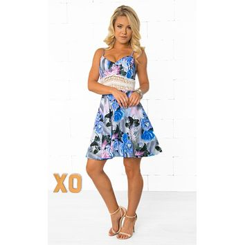 Blue White Black Purple Floral Sleeveless Spaghetti Strap V Neck Lace Skater A Line Flare Mini Dress