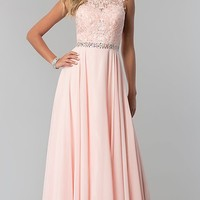 Lace-Applique Chiffon Long Prom Dress