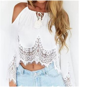 Summer Style Hollow Out Off The Shoulder Lace Chiffon Crop Tops Female Slash Neck Backless Long Sleeve  Blusa Plus Size