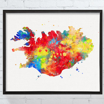 Iceland Map, Iceland Art, Iceland Poster, Iceland Print, Framed Art, Watercolor Map, Country Map, Map Poster, Travel Art, Travel Wall Decor