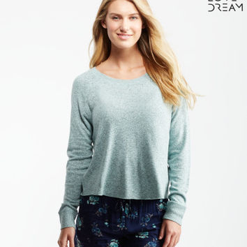 LLD Long Sleeve Marled Fuzzy Crew Popover Top - Aeropostale